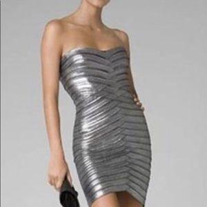 BCBG Silver Metallic Bandage Dress size Small